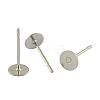 304 Stainless Steel Flat Round Blank Peg Stud Earring FindingsSTAS-S028-24-1