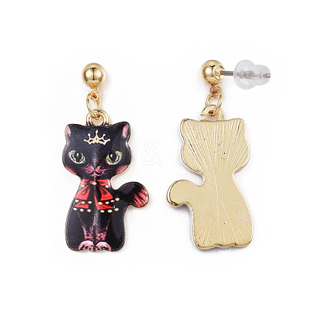 Alloy Kitten Dangle Stud EarringsEJEW-G148-19G-05-1