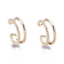 Brass Cuff Earrings EJEW-I249-16G