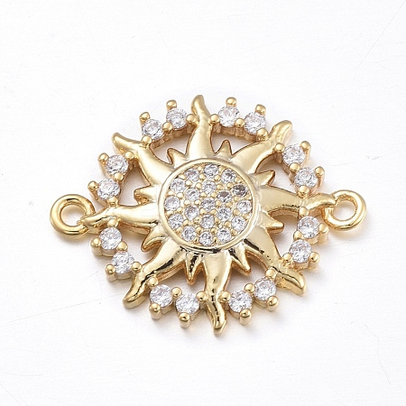 Brass Micro Pave Clear Cubic Zirconia Links ConnectorsZIRC-L085-74G-1