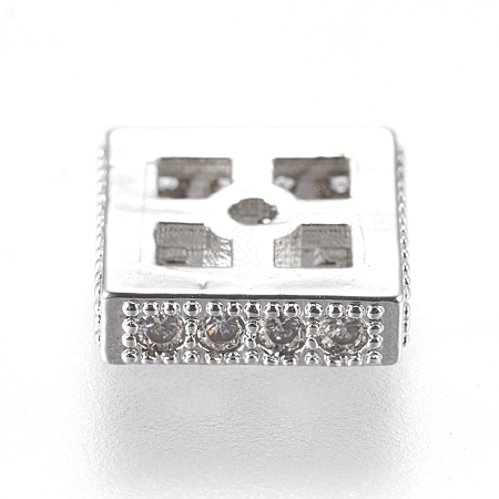Brass Micro Pave Cubic Zirconia BeadsZIRC-J018-01P-1