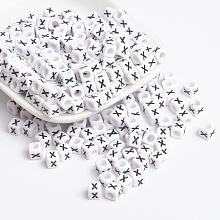 Acrylic Horizontal Hole Letter Beads X-PL37C9308-X