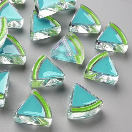 Transparent Enamel Acrylic BeadsTACR-S155-001G-1