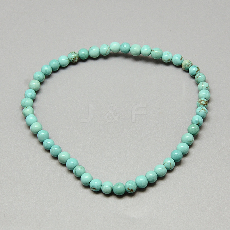 Dyed Synthetic Turquoise Beaded Stretch Bracelets X-BJEW-Q689-47-1