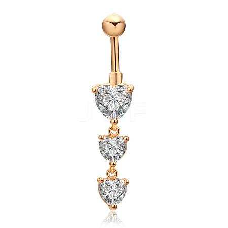 18K Gold Plated Brass Cubic Zirconia Navel Ring Belly Rings AJEW-EE0001-18-1