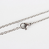 Classic Plain 304 Stainless Steel Mens Womens Cable Chain Necklace MakingsSTAS-P045-01P-1
