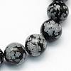 Natural Snowflake Obsidian Round Beads StrandsG-S172-6mm-1