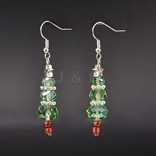 Christmas Glass Beads Dangle Earrings EJEW-JE01624