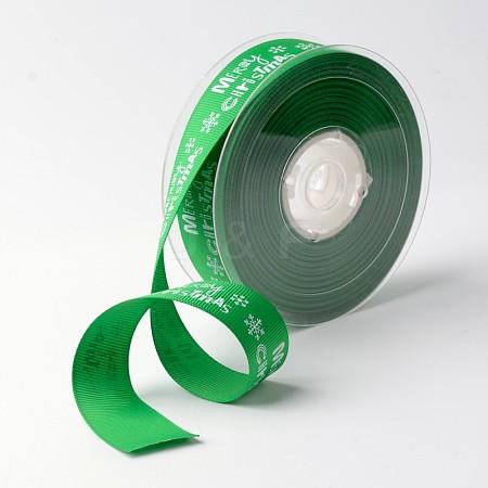 Merry Christmas with Snowflake Polyester Grosgrain Ribbon for ChristmasSRIB-K002-25mm-G02-1