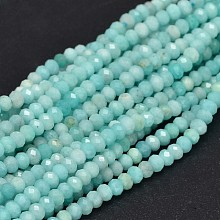 Faceted Rondelle Natural Amazonite Bead Strands G-F289-06