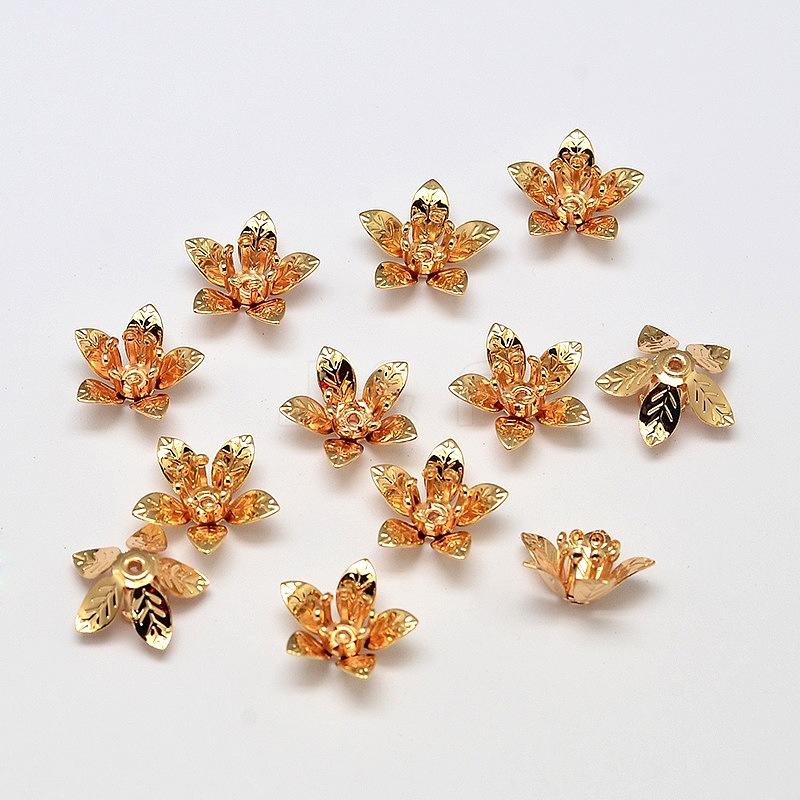 Kk Diamond Centre Kuching Kkdc Home: Wholesale 5-Petal Flower Brass Bead Caps, Cadmium Free