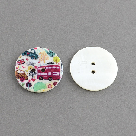 Flat Round 2-Hole Printing Sewing Freshwater Shell ButtonsX-SHEL-S241-18-1