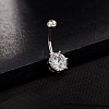 18K Platinum Plated Body Jewelry Cubic Zirconia Brass Navel Ring Belly Rings AJEW-EE0001-05B-3