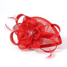 Elegant Red Fascinators UK for Weddings OHAR-S166-01