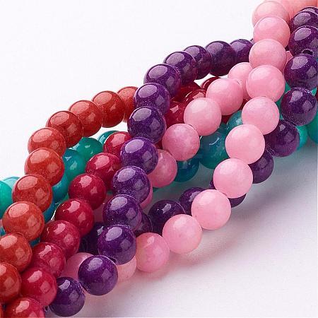 Natural Mashan Jade Round Beads StrandsG-D263-6mm-M-1