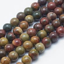 Natural Picasso Stone/Picasso Jasper Beads Strands G-K287-11-8mm