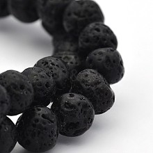 Natural Lava Round Bead Strands G-M169-8mm-03