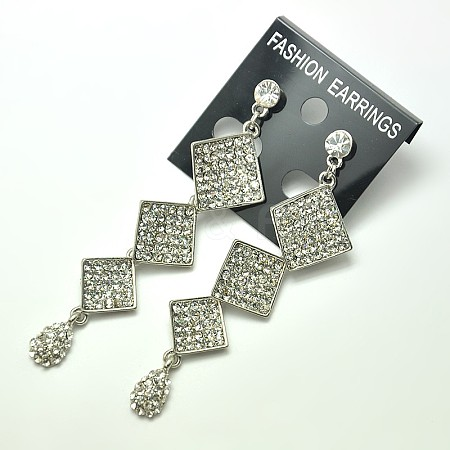 Trendy Women's Sparkling Dangling Alloy Glass Rhinestone Ear StudsX-EJEW-F0007-39D-1