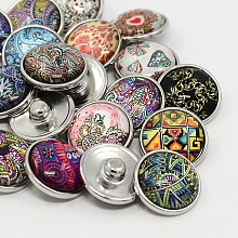 platinum Plated Brass Glass Flat Round with Abstraction Painting Jewelry Snap Buttons X-SNAP-M023-B-M