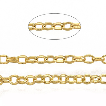 Soldered Brass Coated Iron Rolo Chains, Belcher Chain, with Spool, Golden, 2x0.5mm; about 100m/roll
