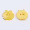 Gold Acrylic Apple 2-Hole Sewing Buttons Scrapbooking 21mm Knopf Bouton X-BUTT-E037-A-07-2