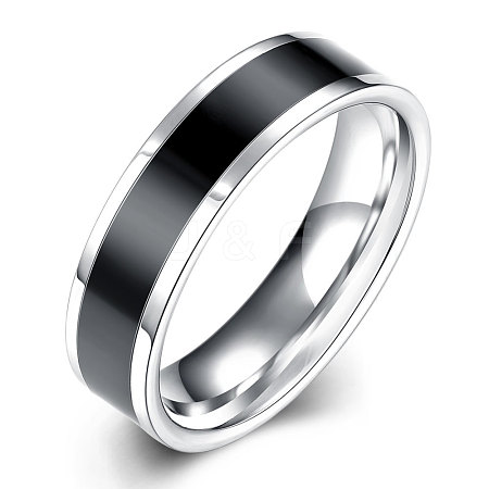 Fashionable 316L Titanium Steel Wide Band Rings for Men RJEW-BB07090-10-1