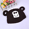 Cute Monkey Design Handmade Crochet Baby Beanie Costume Photography Props AJEW-R030-28-3