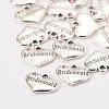 Wedding Theme Antique Silver Tone Tibetan Style Heart with Bridesmaid Rhinestone CharmsX-TIBEP-N005-04D-2