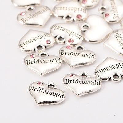Wedding Theme Antique Silver Tone Tibetan Style Heart with Bridesmaid Rhinestone CharmsX-TIBEP-N005-04D-1