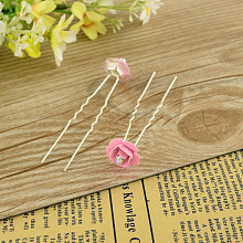Lady's Hair Accessories Silver Color Iron Rhinestone Flower Hair Forks PHAR-S198-04