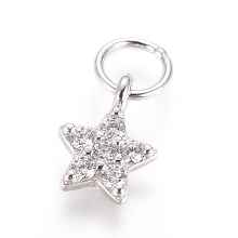 925 Sterling Silver Micro Pave Clear Cubic Zirconia Charms STER-I018-02P