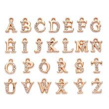 Light Gold Plated Alloy Rhinestone Charms ALRI-T008-01G