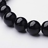 Natural Black Agate Beaded Stretch Bracelets BJEW-F203-09-2