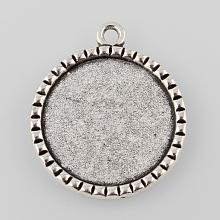Tibetan Style Antique Silver Alloy Flat Round Pendant Cabochon Settings X-TIBEP-M022-38AS