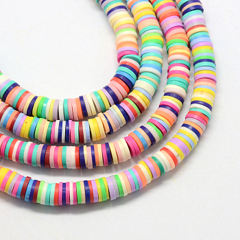 Environmental Handmade Polymer Clay Beads, Disc/Flat Round, Heishi Beads, Mixed Color, 3x1mm, Hole: 1mm; about 380~400pcs/strand, 17.7