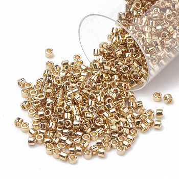 MIYUKI Delica Beads, Cylinder, Japanese Seed Beads, (DB0034) 24kt Gold Light Plated, 11/0, 1.3x1.6mm, Hole: 0.8mm; about 20000pcs/bag, 100g/bag
