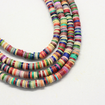 Environmental Handmade Polymer Clay Beads, Disc/Flat Round, Heishi Beads, Mixed Color, 5x1mm, Hole: 2mm; about 380~400pcs/strand, 17.7