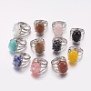 Natural & Synthetic Gemstone Wide Band Finger RingsRJEW-K224-A-1