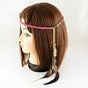 Women's Dyed Feather Braided Suede Cord HeadbandsOHAR-R187-02-2
