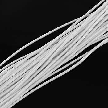Elastic Cord, with Fibre Outside and Rubber Inside, White, 4.0mm; about 100m/bundle