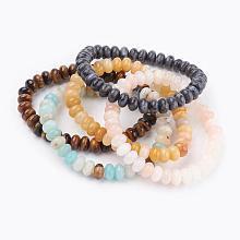 Natural Mixed Stone Beads Stretch Bracelets BJEW-JB03376