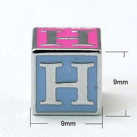 Alloy Enamel Large Hole Cube BeadsX-ENAM-C1491-H-1