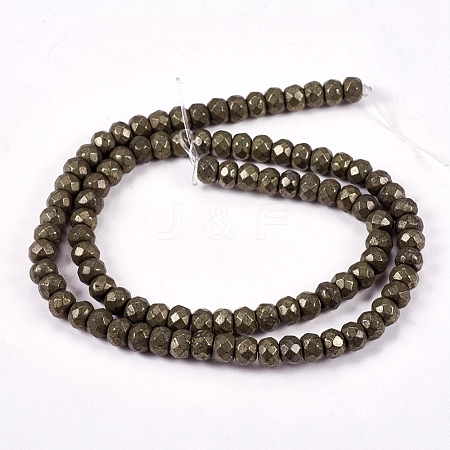 Natural Pyrite Beads StrandsG-L051-6x4mm-01-1