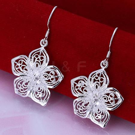 High Quality Flower Brass Dangle Earrings EJEW-BB11878-1