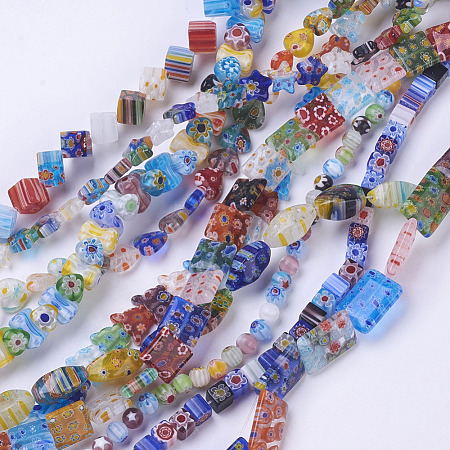 Handmade Millefiori Glass Beads Strands M-LK01-1