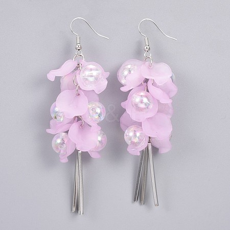 Environmental Transparent Acrylic Dangle Earrings EJEW-JE03203-03-1