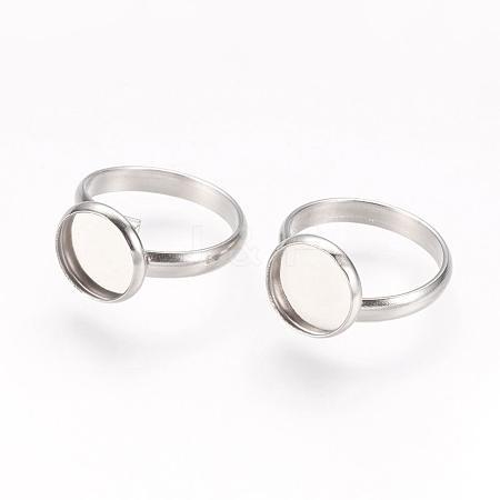 Adjustable 304 Stainless Steel Finger Rings ComponentsSTAS-L193-P-10mm-1