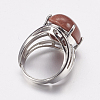 Natural & Synthetic Gemstone Wide Band Finger RingsRJEW-K224-A-4