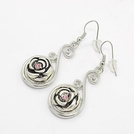 Environmental Zinc Alloy Rhinestone Snap Button Dangle EarringsX-EJEW-M021-01-1