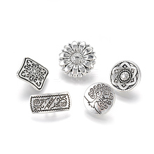 1-Hole Tibetan Style Alloy Shank Buttons PALLOY-WH0035-01AS